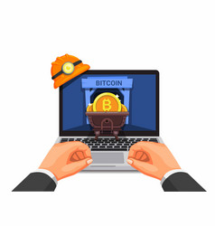 hand using laptop crypto currency mining vector image