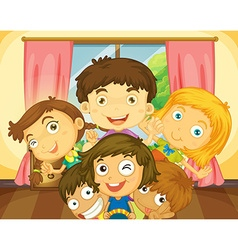 Happy boys and girls in the house vector image