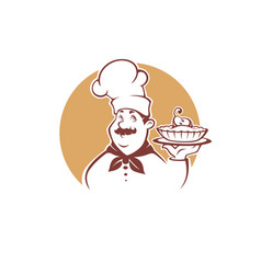 Happy cartoon chef holding a sweet pear pie vector