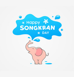 Happy songkran day thailand festival pink elephant vector