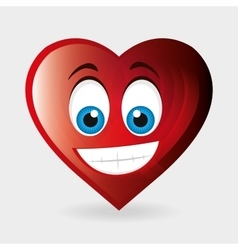 heart character happy and blue eyes vector image