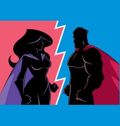 Hero versus heroine silhouette vector