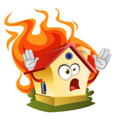 House on a fire on white background vector