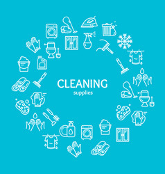 Household and cleaning tools color round design vector