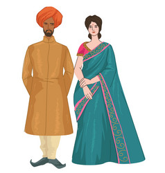 Indian couple man and woman in traditional clothes vector