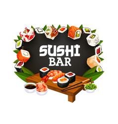 Japanese food menu asian sushi and rolls bar vector