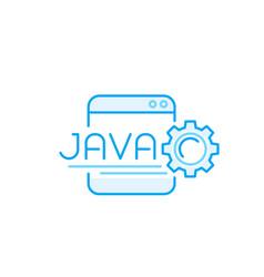 Java coding line icon vector