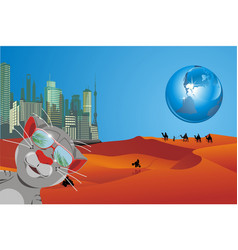 landscape - a weekend on the moon cartoon vector image