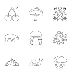 Landscape icons set outline style vector
