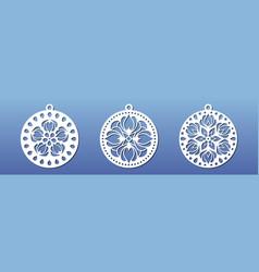 laser cnc cut pendants coasters mandala wall art vector image