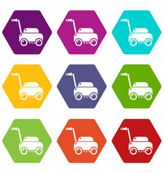 lawn mower machine icons set 9 vector image