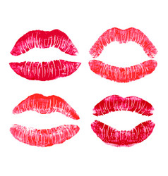 lipstick kiss prints photo realistic set vector image