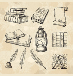 Literature concept pictures vintage hand drawings vector