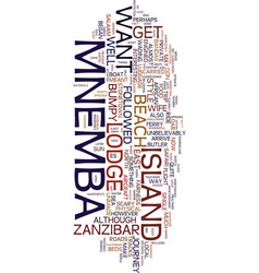 Mnemba island lodge text background word cloud vector