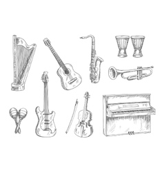 Musical instruments sketch icons for art design vector