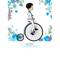 My first communion card boy riding vintage bicycl vector