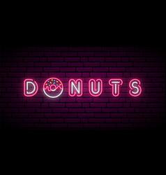 Neon donut signboard bright horizontal banner vector