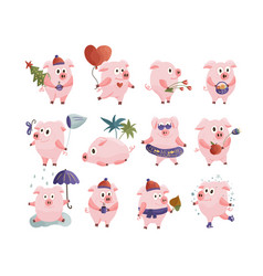 New year 2019 set with christmas pink pigs vector