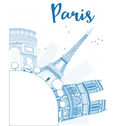 Outline Paris skyline with blue landmarks vector image