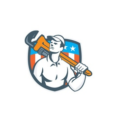 Plumber Holding Wrench USA Flag Retro vector image