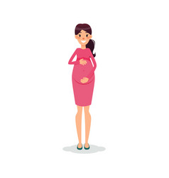 Pregnant happy flat women future mom cartoon vector