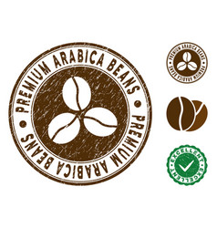 Premium arabica beans stamp with dirty effect vector