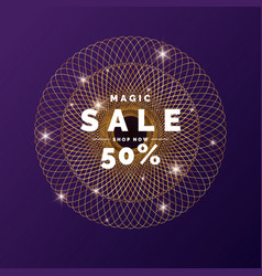 Sale banner gold glitter shiny particles on a vector