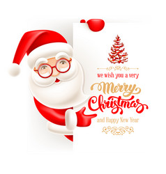 santa claus and christmas greeting card vector image