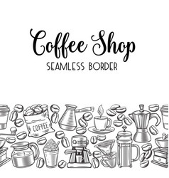 Seamless border coffee vector
