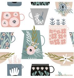Seamless minimalistic pattern with flowers in cups vector