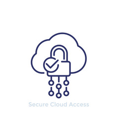 secure cloud access protected hosting line icon vector image