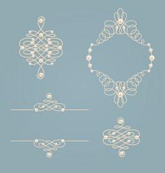 set collection of elegant golden knot frame signs vector image
