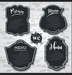 set design elements chalkboard menu sample vector image