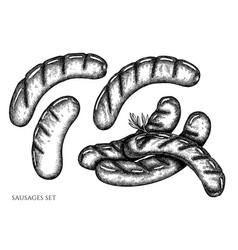 set hand drawn black and white sausages vector image