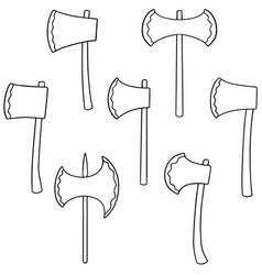 set of axe vector image