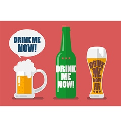 Set of beer drink me now vector