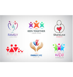 Set of family kids support charity vector