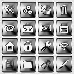 Set of Metallic Square Buttons vector