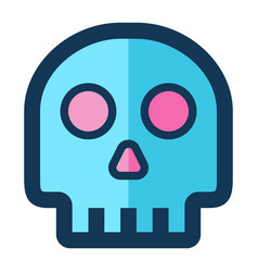skull medical icon filled line pink blue color vector image