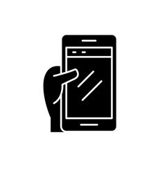 smartphone in hand black icon sign on vector image