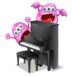 Two pink monsters at the back of the piano vector image