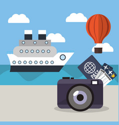 Vacations ship airoon tickets passport concept vector