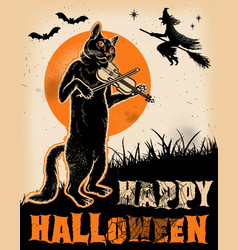 Vintage halloween cat playing violin poster vector