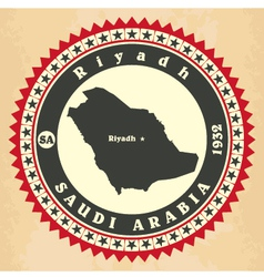 vintage label-sticker cards saudi arabia vector image