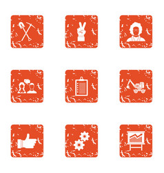 workflow process icons set grunge style vector image