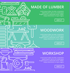 workshop lumber posters in linear style vector image