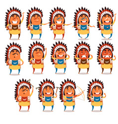 set of indian flat icons vector image vector image