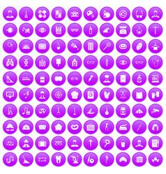 100 profession icons set purple vector