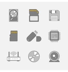 Data storage flat line icons vector image vector image