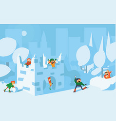 happy cute kids playing with snow fort castle vector image